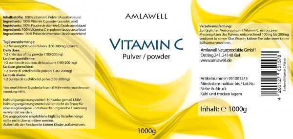 Amlawell Vitamin C Pulver / 1KG Dose