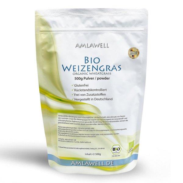 Amlawell Bio Weizengras Pulver / 500 g / Doypack / DE-ÖKO-039
