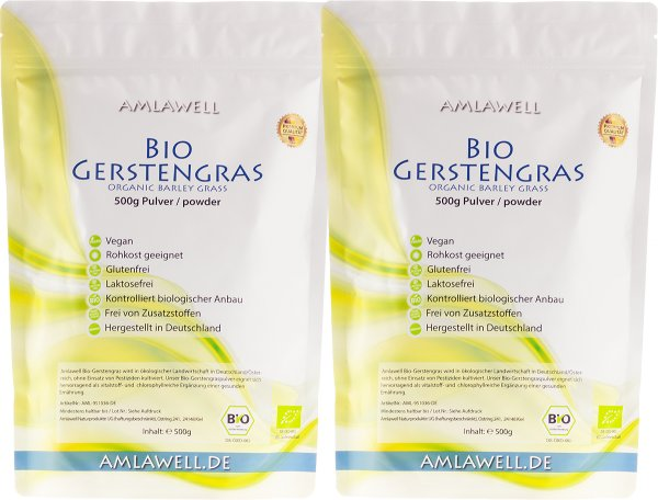 Amlawell Bio-Gerstengraspulver 1000g / deutscher Anbau / DE-ÖKO-039