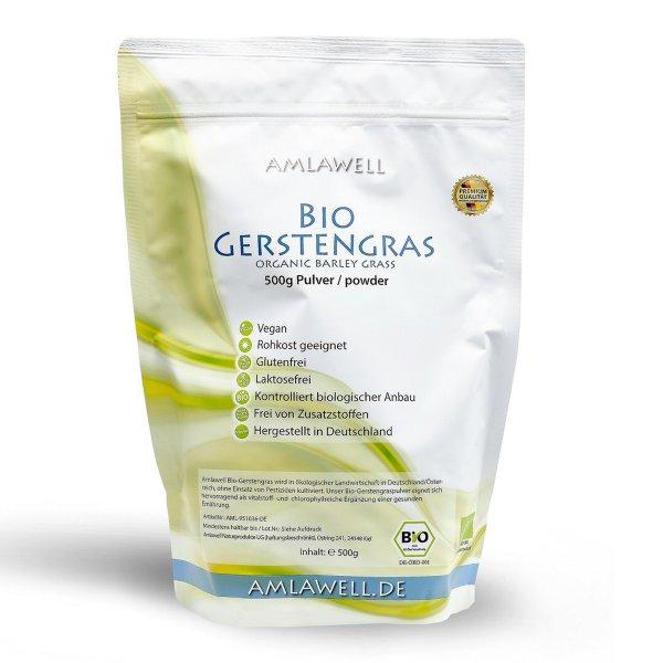 Amlawell Bio Gerstengras Pulver / 500 g / Doypack / DE-ÖKO-039