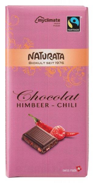 Bio Halbbitter Schokolade mit Himbeer-Chili, 57 % Kakao