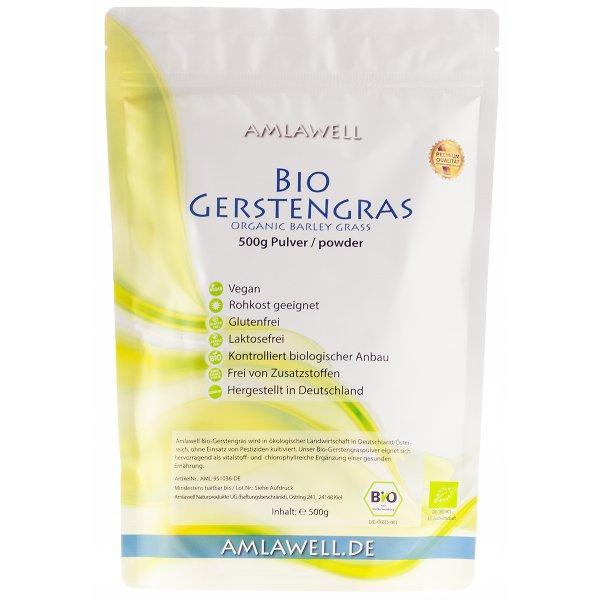 Amlawell Bio Gerstengras Pulver / 500g / deutscher Anbau / DE-ÖKO-039
