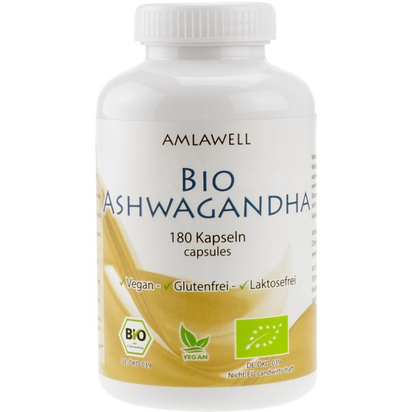 Amlawell Bio Ashwagandha Kapseln / 180 Stk. / DE-ÖKO-039